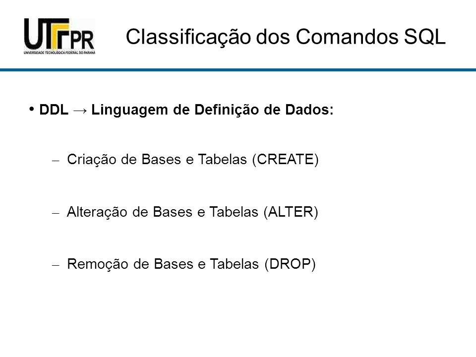 Classificação dos Comandos SQL DCL Linguagem de Controle de Dados: – Controle de Usuários e Senhas (GRANT e REVOKE) DTL Linguagem de Transação de Dados: – Delimitação de blocos de transação – COMMIT (efetiva) e ROLLBACK (volta a estado anterior)