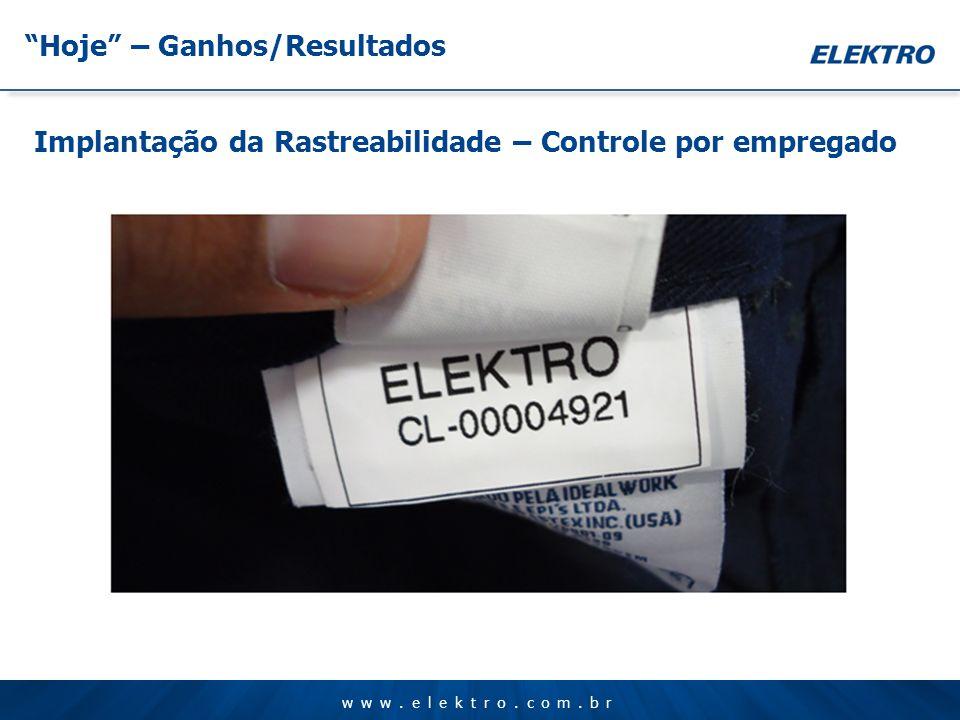 www.elektro.com.br Hoje – Ganhos/Resultados Implantação da Rastreabilidade – Controle por empregado