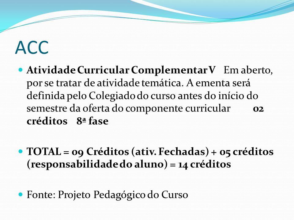 ACC Atividade Curricular Complementar V Em aberto, por se tratar de atividade temática. A ementa será definida pelo Colegiado do curso antes do início