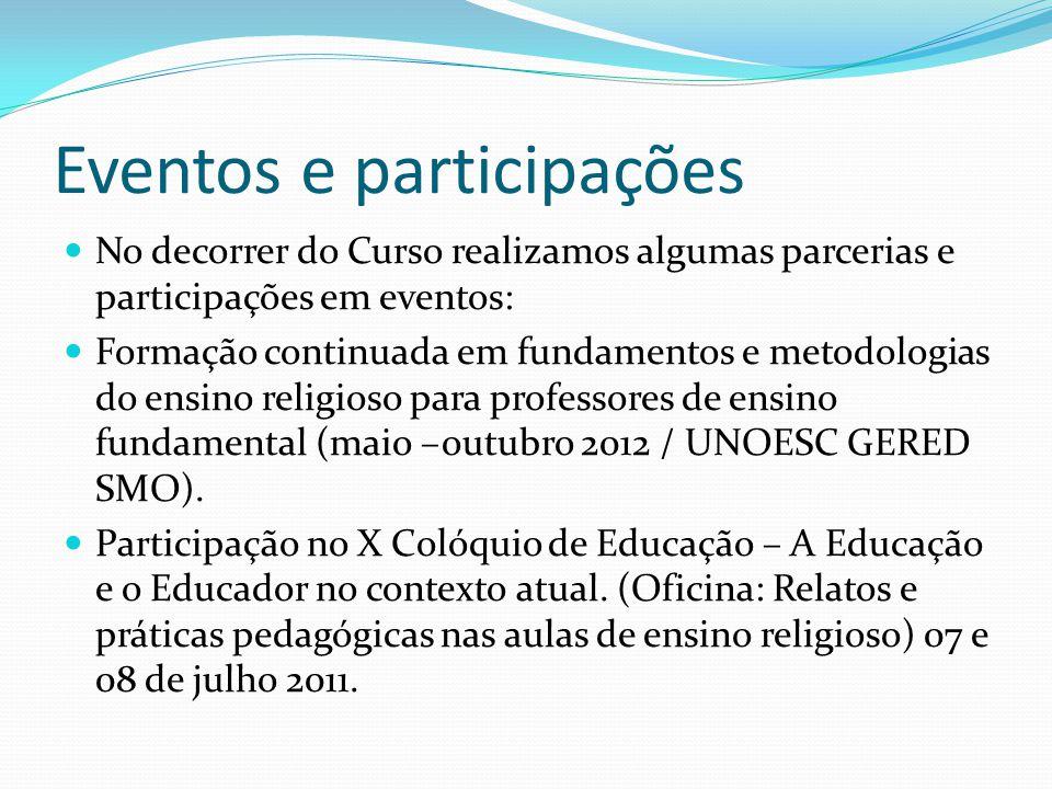 Eventos e participações No decorrer do Curso realizamos algumas parcerias e participações em eventos: Formação continuada em fundamentos e metodologia