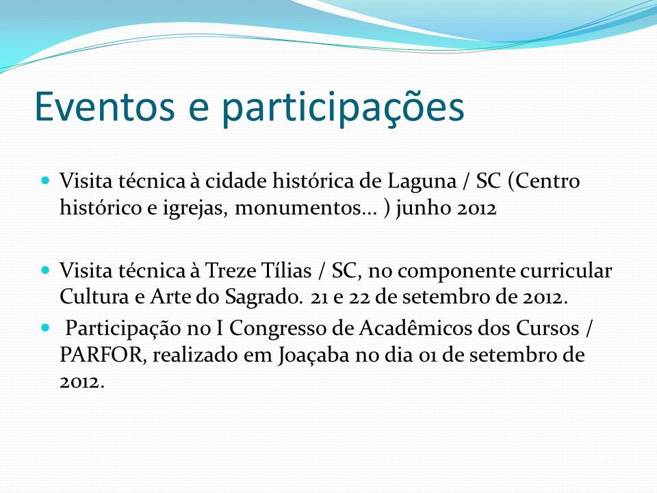 Eventos e participações Visita técnica à cidade histórica de Laguna / SC (Centro histórico e igrejas, monumentos... ) junho 2012 Visita técnica à Trez