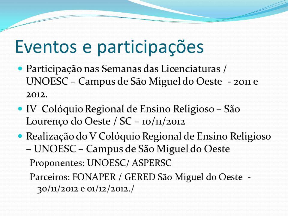 Eventos e participações Participação nas Semanas das Licenciaturas / UNOESC – Campus de São Miguel do Oeste - 2011 e 2012. IV Colóquio Regional de Ens