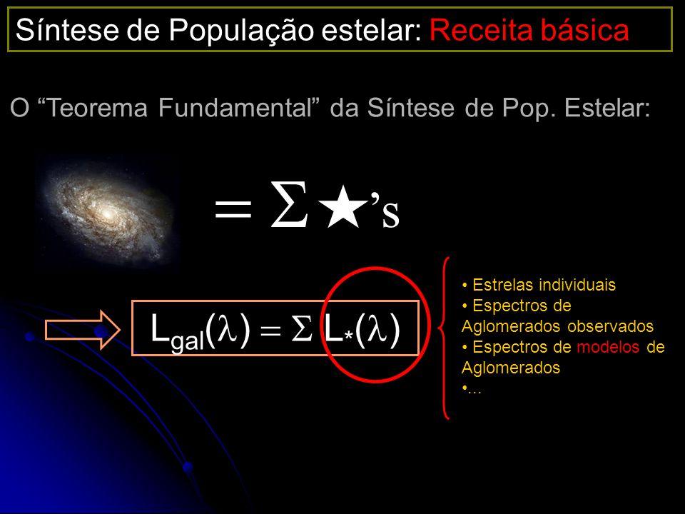s L gal ( ) L * ( ) Estrelas individuais Espectros de Aglomerados observados Espectros de modelos de Aglomerados... Síntese de População estelar: Rece