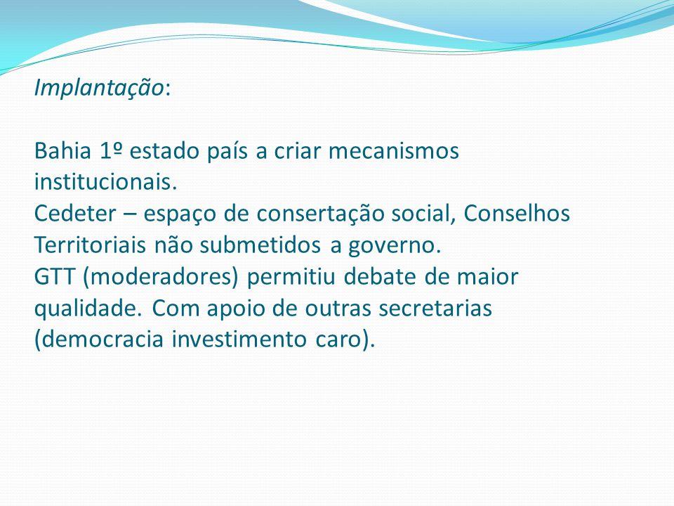 Implantação: Bahia 1º estado país a criar mecanismos institucionais.