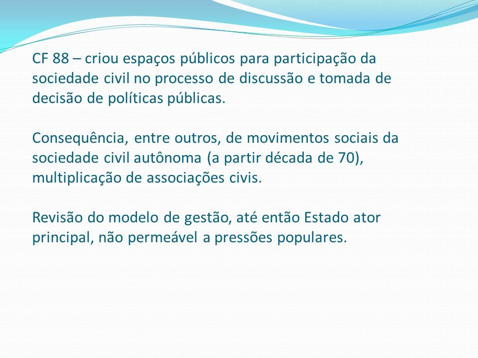 CF 88 – criou espaços públicos para participação da sociedade civil no processo de discussão e tomada de decisão de políticas públicas.