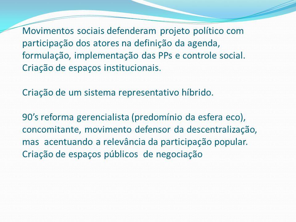 Movimentos sociais defenderam projeto político com participação dos atores na definição da agenda, formulação, implementação das PPs e controle social.