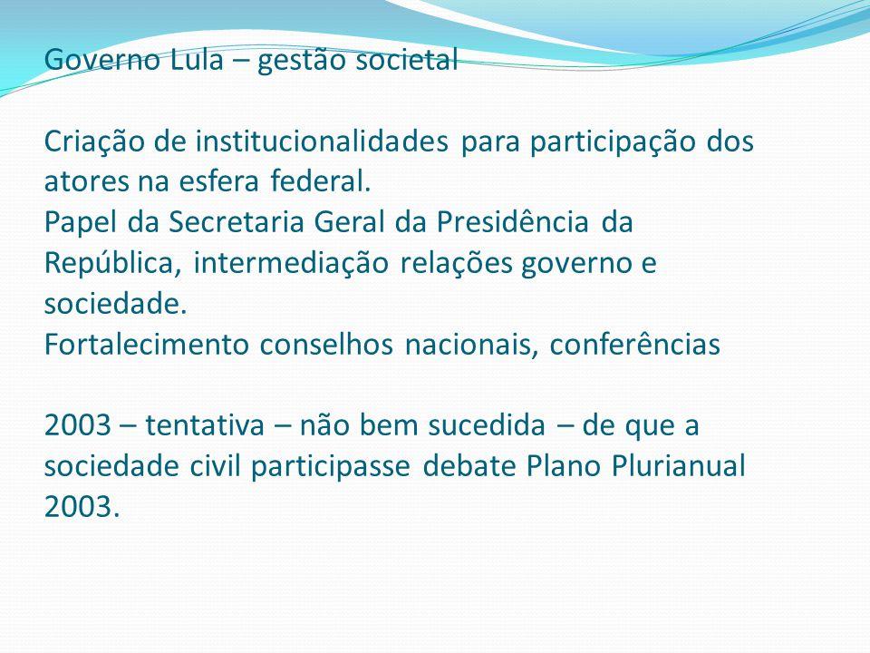 Governo Lula – gestão societal Criação de institucionalidades para participação dos atores na esfera federal.