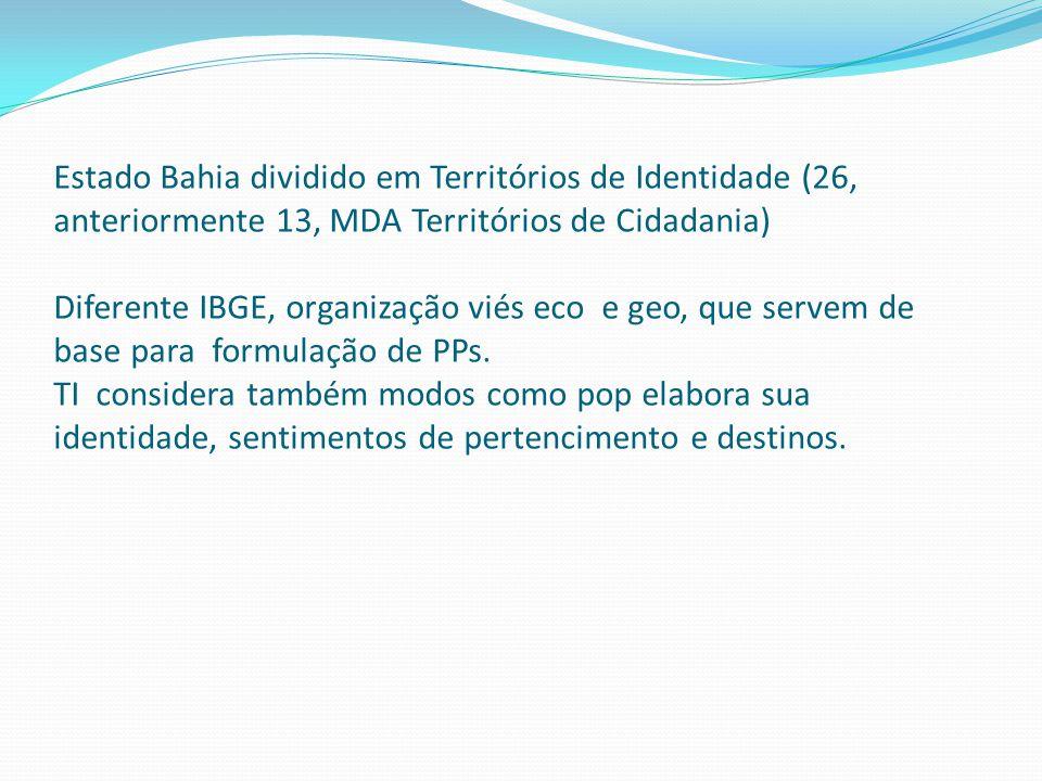 Estado Bahia dividido em Territórios de Identidade (26, anteriormente 13, MDA Territórios de Cidadania) Diferente IBGE, organização viés eco e geo, que servem de base para formulação de PPs.