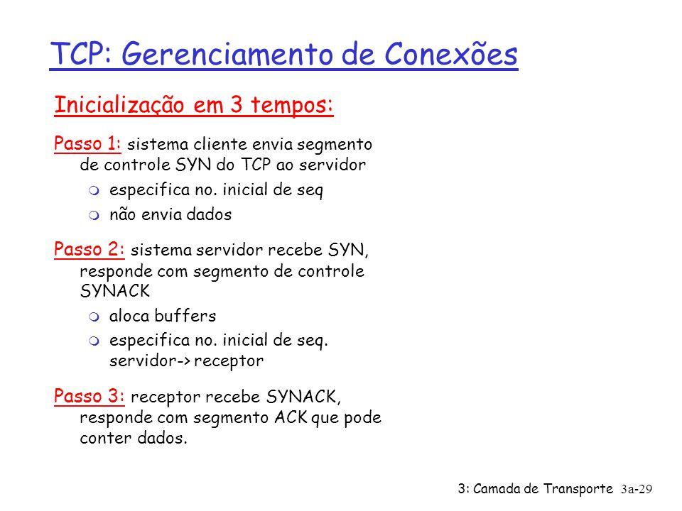 3: Camada de Transporte 3a-29 TCP: Gerenciamento de Conexões Inicialização em 3 tempos: Passo 1: sistema cliente envia segmento de controle SYN do TCP
