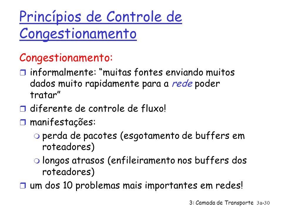 3: Camada de Transporte 3a-30 Princípios de Controle de Congestionamento Congestionamento: r informalmente: muitas fontes enviando muitos dados muito
