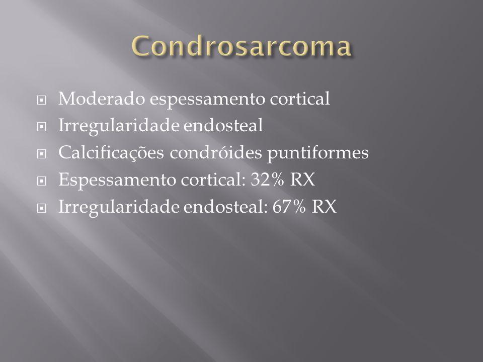 Moderado espessamento cortical Irregularidade endosteal Calcificações condróides puntiformes Espessamento cortical: 32% RX Irregularidade endosteal: 6