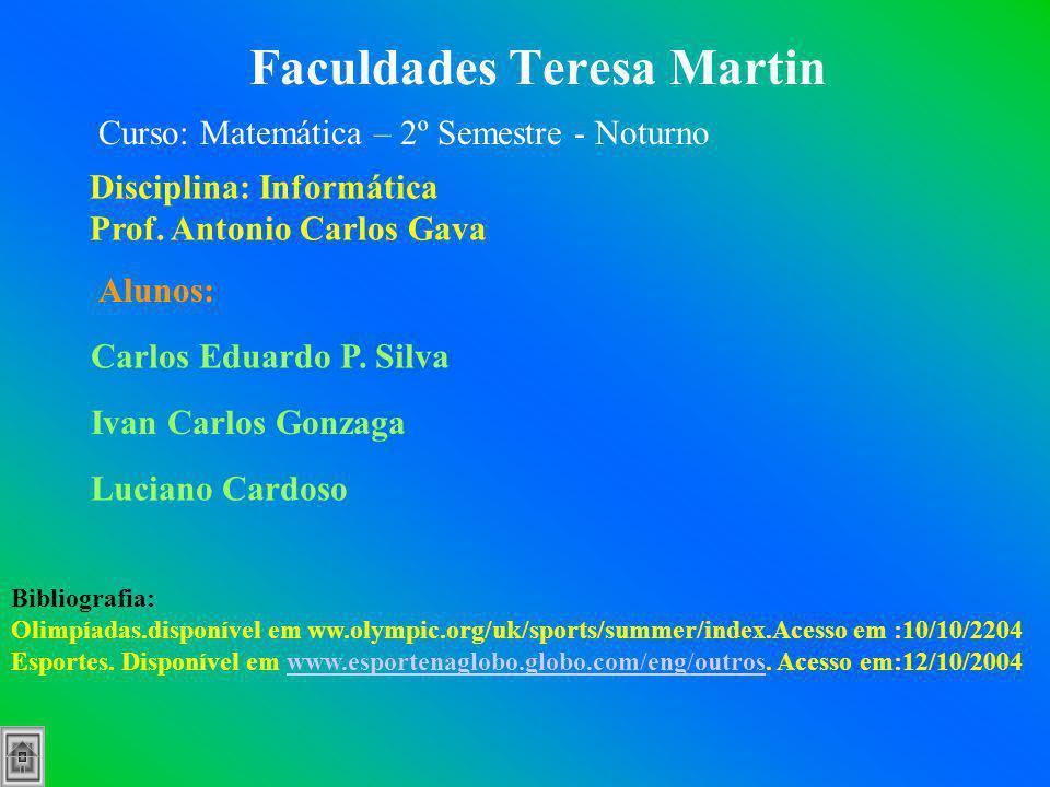 Faculdades Teresa Martin Disciplina: Informática Prof. Antonio Carlos Gava Alunos: Carlos Eduardo P. Silva Ivan Carlos Gonzaga Luciano Cardoso Bibliog