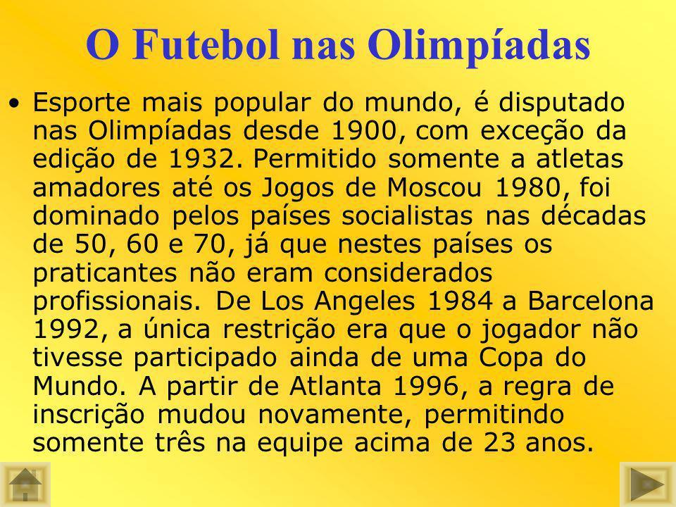 O Futebol nas Olimpíadas Esporte mais popular do mundo, é disputado nas Olimpíadas desde 1900, com exceção da edição de 1932. Permitido somente a atle