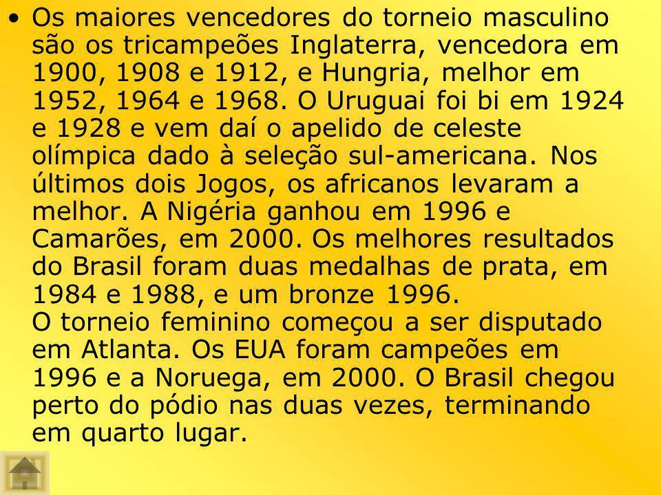 Os maiores vencedores do torneio masculino são os tricampeões Inglaterra, vencedora em 1900, 1908 e 1912, e Hungria, melhor em 1952, 1964 e 1968. O Ur