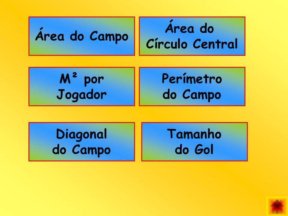 Área do Campo Área do Círculo Central M² por Jogador Perímetro do Campo Diagonal do Campo Tamanho do Gol