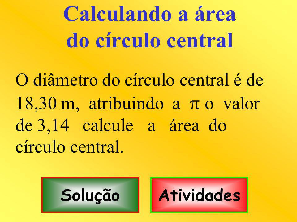 Calculando a área do círculo central O diâmetro do círculo central é de 18,30 m, atribuindo a o valor de 3,14 calcule a área do círculo central.