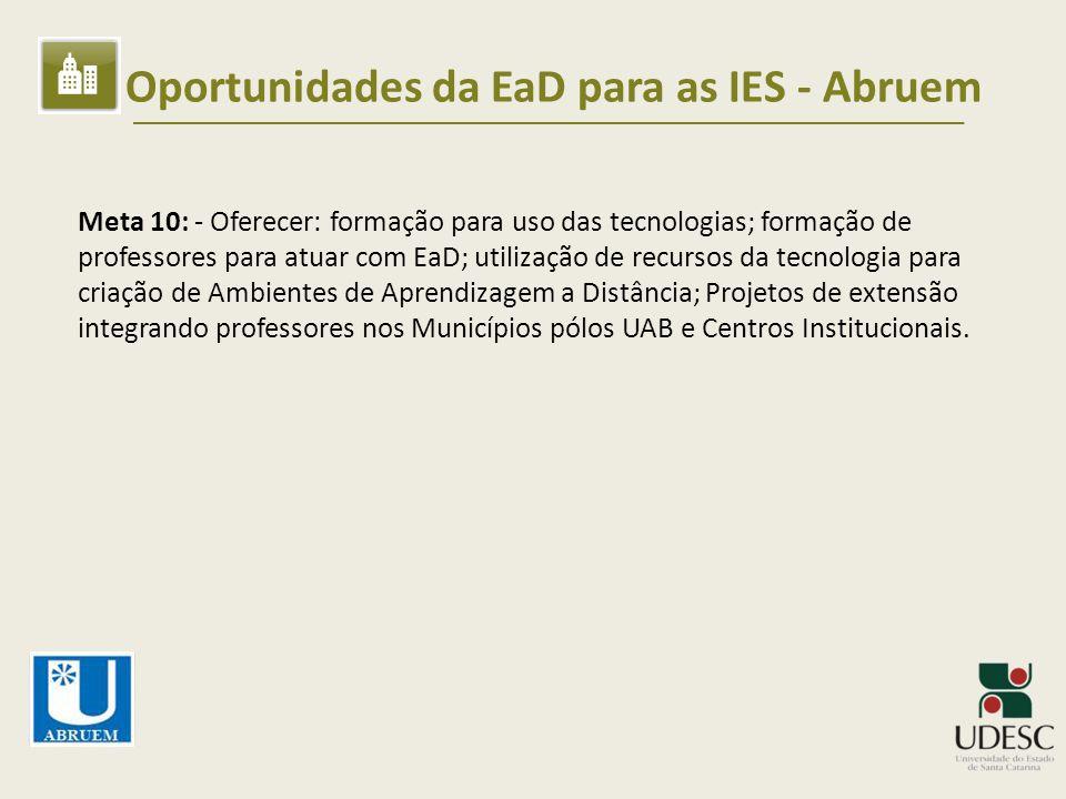 Oportunidades da EaD para as IES - Abruem Meta 10: - Oferecer: formação para uso das tecnologias; formação de professores para atuar com EaD; utilizaç