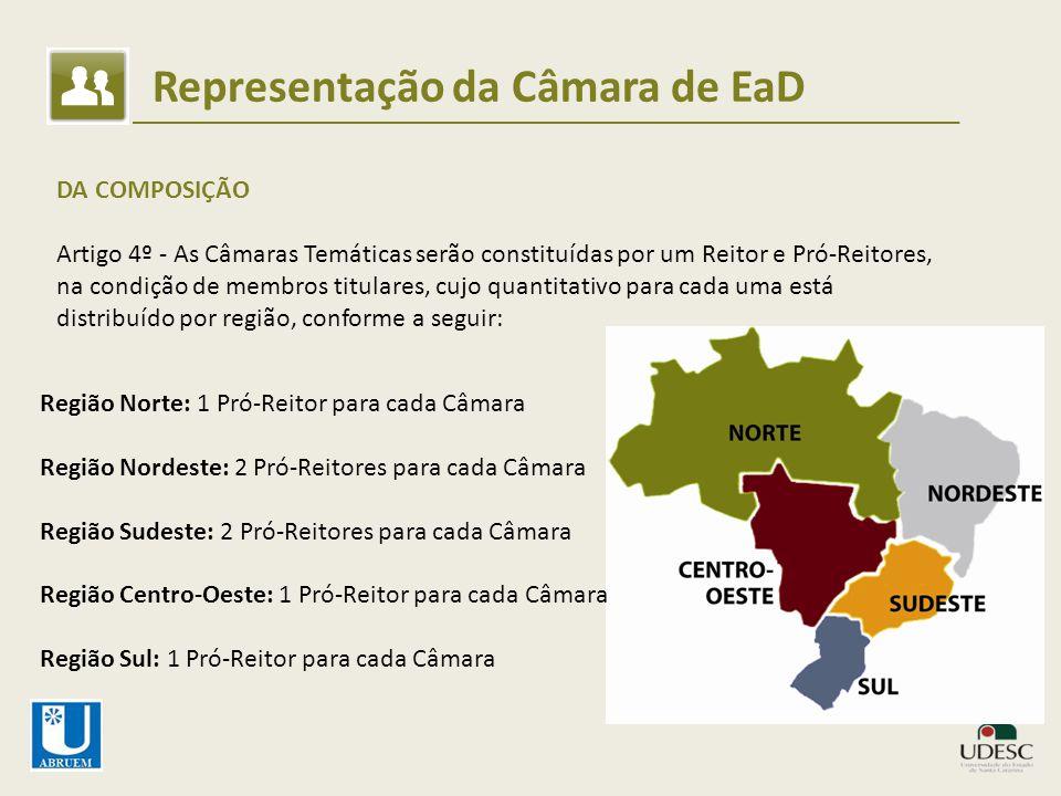 Representação da Câmara de EaD DA COMPOSIÇÃO Artigo 4º - As Câmaras Temáticas serão constituídas por um Reitor e Pró-Reitores, na condição de membros