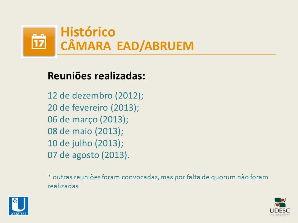 Histórico CÂMARA EAD/ABRUEM Outras atividades realizadas: 08 de agosto (encontro em Brasília); 16 de setembro (participação no Fórum UAB em JP); 04 e 16 de outubro (na Capes e Congresso Federal).