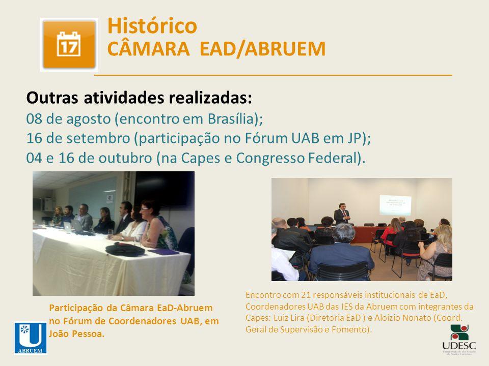 Histórico CÂMARA EAD/ABRUEM Outras atividades realizadas: 08 de agosto (encontro em Brasília); 16 de setembro (participação no Fórum UAB em JP); 04 e