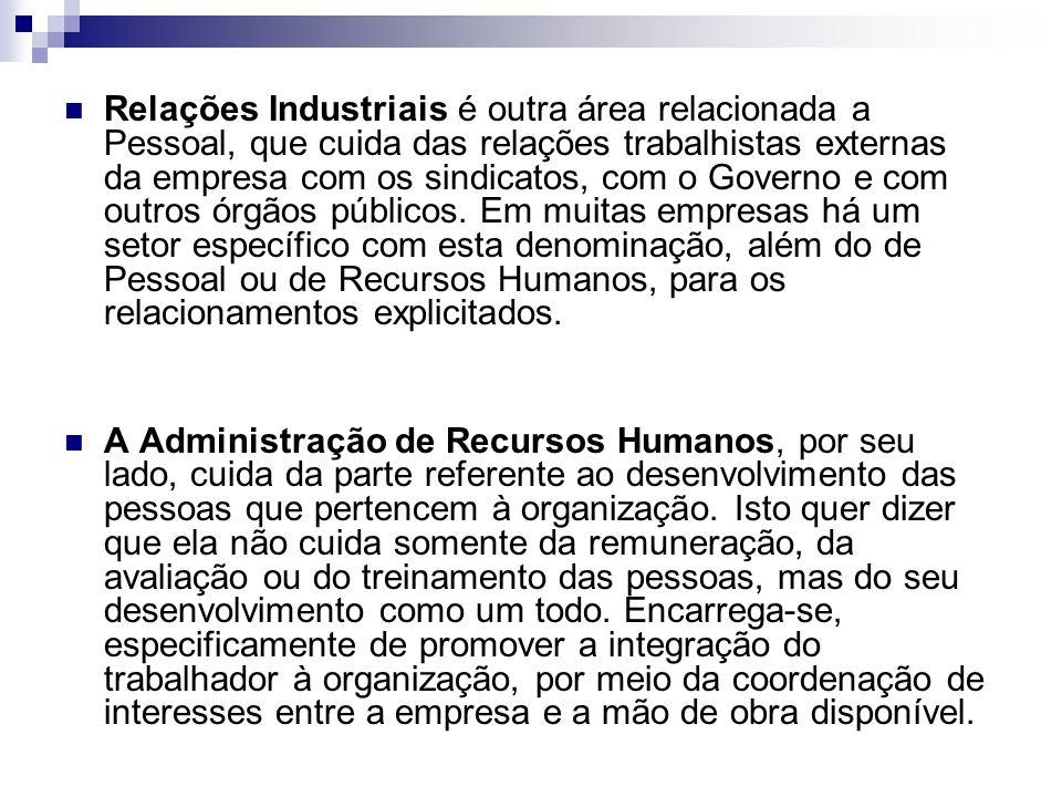 Relações Industriais é outra área relacionada a Pessoal, que cuida das relações trabalhistas externas da empresa com os sindicatos, com o Governo e com outros órgãos públicos.