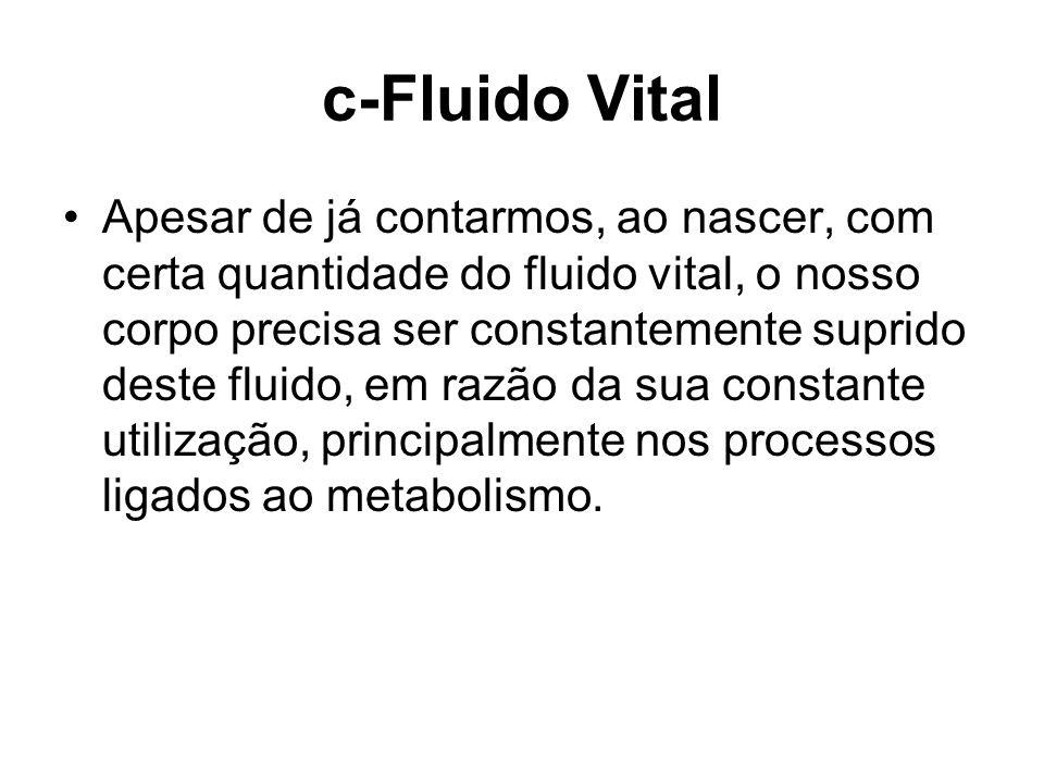 c-Fluido Vital Apesar de já contarmos, ao nascer, com certa quantidade do fluido vital, o nosso corpo precisa ser constantemente suprido deste fluido,