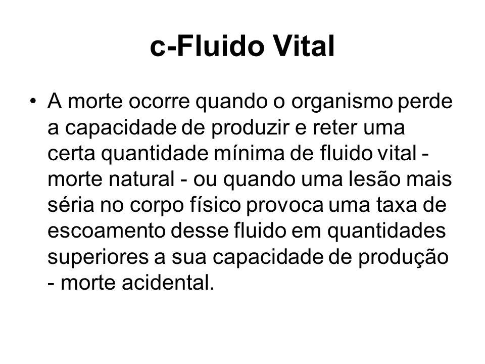 c-Fluido Vital A morte ocorre quando o organismo perde a capacidade de produzir e reter uma certa quantidade mínima de fluido vital - morte natural -