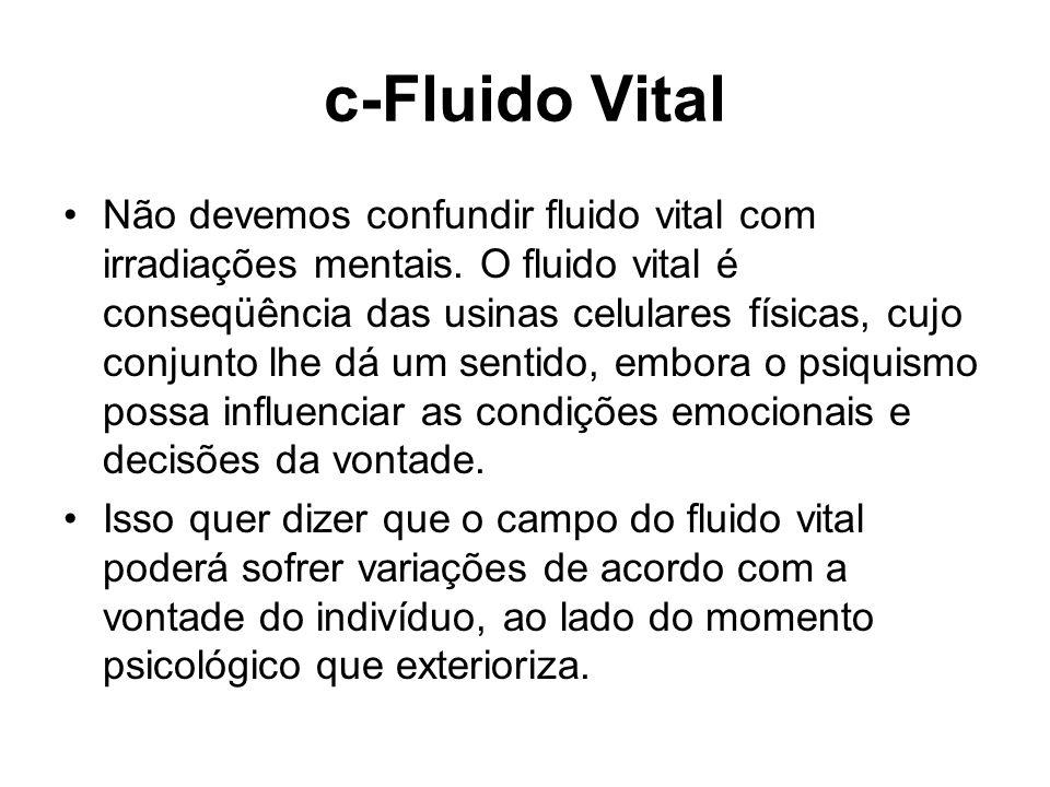 c-Fluido Vital Não devemos confundir fluido vital com irradiações mentais. O fluido vital é conseqüência das usinas celulares físicas, cujo conjunto l