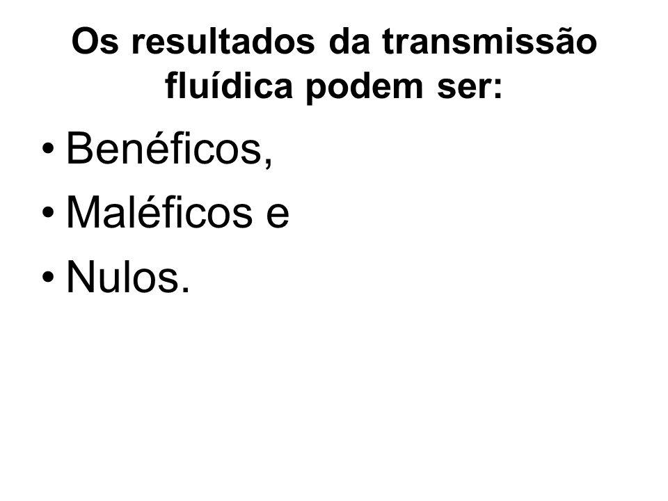 Os resultados da transmissão fluídica podem ser: Benéficos, Maléficos e Nulos.