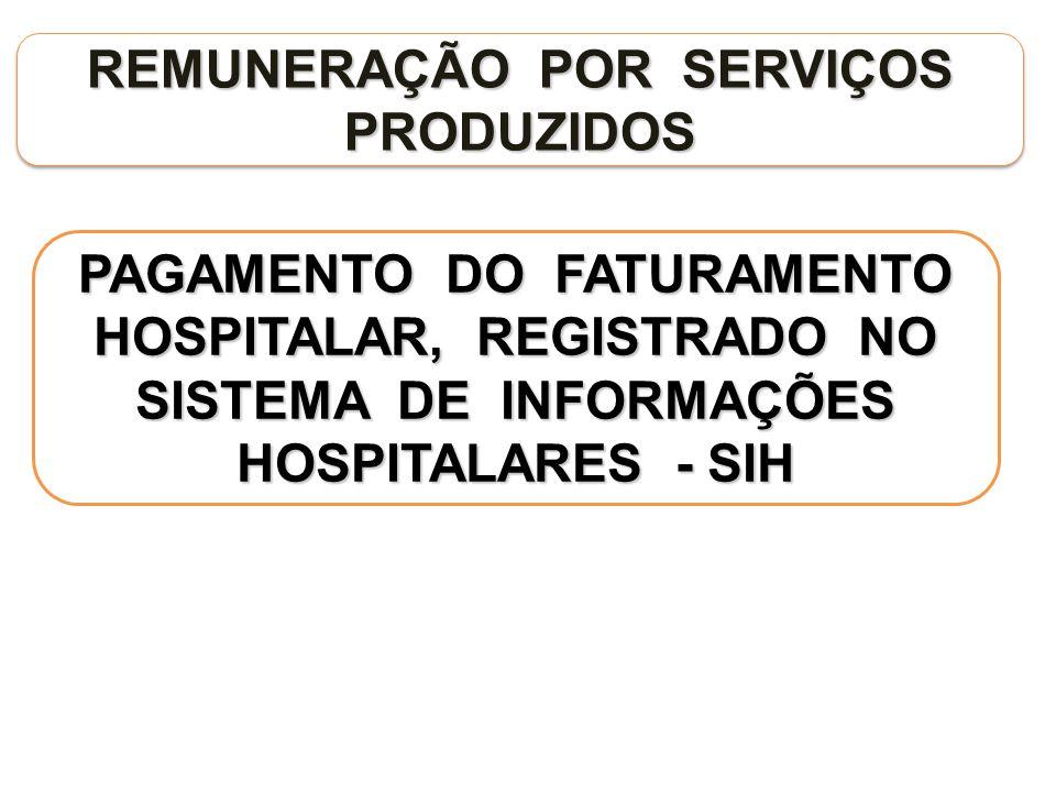 REMUNERAÇÃO POR SERVIÇOS PRODUZIDOS PAGAMENTO DO FATURAMENTO HOSPITALAR, REGISTRADO NO SISTEMA DE INFORMAÇÕES HOSPITALARES - SIH