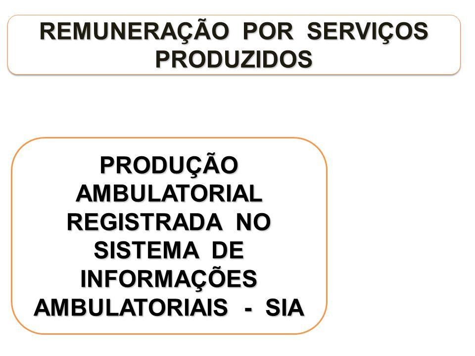 REMUNERAÇÃO POR SERVIÇOS PRODUZIDOS PRODUÇÃO AMBULATORIAL REGISTRADA NO SISTEMA DE INFORMAÇÕES AMBULATORIAIS - SIA