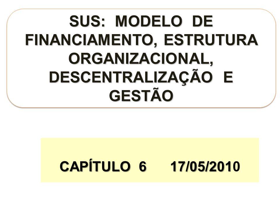 CAPÍTULO 6 17/05/201 CAPÍTULO 6 17/05/2010 SUS: MODELO DE FINANCIAMENTO, ESTRUTURA ORGANIZACIONAL, DESCENTRALIZAÇÃO E GESTÃO