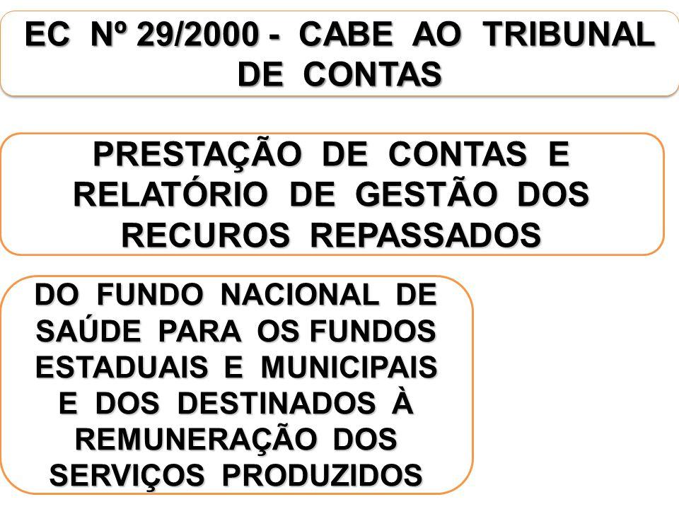 EC Nº 29/2000 - CABE AO TRIBUNAL DE CONTAS PRESTAÇÃO DE CONTAS E RELATÓRIO DE GESTÃO DOS RECUROS REPASSADOS DO FUNDO NACIONAL DE SAÚDE PARA OS FUNDOS ESTADUAIS E MUNICIPAIS E DOS DESTINADOS À REMUNERAÇÃO DOS SERVIÇOS PRODUZIDOS
