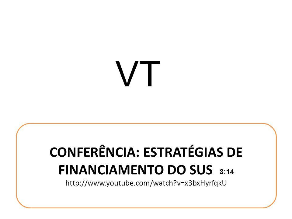 VT CONFERÊNCIA: ESTRATÉGIAS DE FINANCIAMENTO DO SUS 3:14 http://www.youtube.com/watch?v=x3bxHyrfqkU