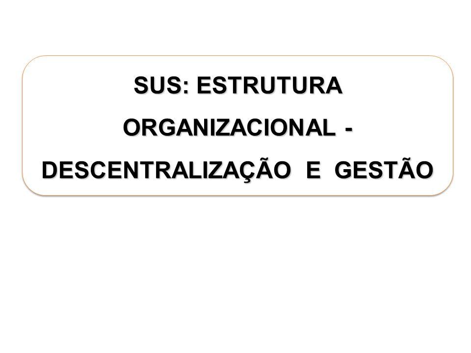 SUS: ESTRUTURA ORGANIZACIONAL - DESCENTRALIZAÇÃO E GESTÃO