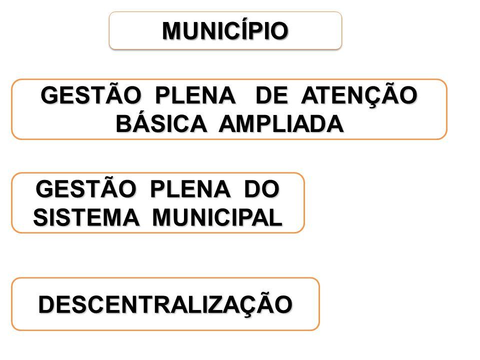 GESTÃO PLENA DE ATENÇÃO BÁSICA AMPLIADA GESTÃO PLENA DO SISTEMA MUNICIPAL DESCENTRALIZAÇÃO MUNICÍPIOMUNICÍPIO