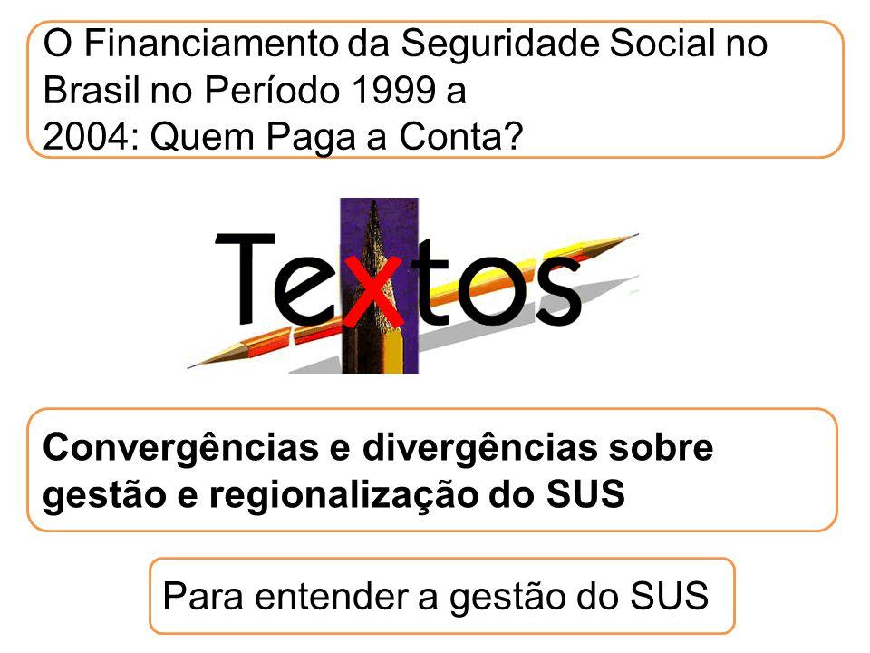 O Financiamento da Seguridade Social no Brasil no Período 1999 a 2004: Quem Paga a Conta? Para entender a gestão do SUS Convergências e divergências s