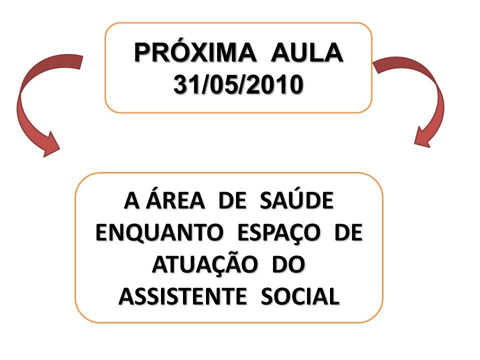 A ÁREA DE SAÚDE ENQUANTO ESPAÇO DE ATUAÇÃO DO ASSISTENTE SOCIAL PRÓXIMA AULA 31/05/2010