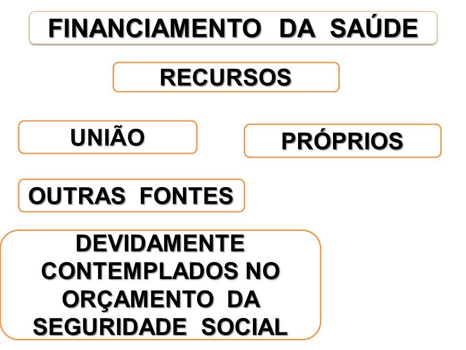 FINANCIAMENTO DA SAÚDE PRÓPRIOS RECURSOS UNIÃO OUTRAS FONTES DEVIDAMENTE CONTEMPLADOS NO ORÇAMENTO DA SEGURIDADE SOCIAL