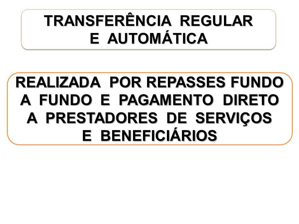 TRANSFERÊNCIA REGULAR E AUTOMÁTICA TRANSFERÊNCIA REGULAR E AUTOMÁTICA REALIZADA POR REPASSES FUNDO A FUNDO E PAGAMENTO DIRETO A PRESTADORES DE SERVIÇOS E BENEFICIÁRIOS