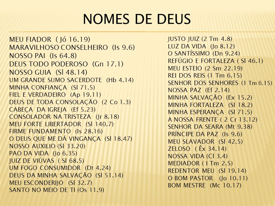 MEU FIADOR ( Jó 16.19) MARAVILHOSO CONSELHEIRO (Is 9.6) NOSSO PAI (Is 64.8) DEUS TODO PODEROSO (Gn 17.1) NOSSO GUIA (Sl 48.14) UM GRANDE SUMO SACERDOTE (Hb 4.14) MINHA CONFIANÇA (Sl 71.5) FIEL E VERDADEIRO (Ap 19.11) DEUS DE TODA CONSOLAÇÃO (2 Co 1.3) CABEÇA DA IGREJA (Ef 5.23) CONSOLADOR NA TRISTEZA (Jr 8.18) MEU FORTE LIBERTADOR (Sl 140.7) FIRME FUNDAMENTO (Is 28.16) O DEUS QUE ME DÁ VINGANÇA (Sl 18.47) NOSSO AUXILIO (Sl 33.20) PAO DA VIDA (Jo 6.35) JUIZ DE VIÚVAS ( Sl 68.5) UM FOGO CONSUMIDOR (Dt 4.24) DEUS DA MINHA SALVAÇÃO (Sl 51.14) MEU ESCONDERIJO (Sl 32.7) SANTO NO MEIO DE TI (Os 11.9) JUSTO JUIZ (2 Tm 4.8) LUZ DA VIDA (Jo 8.12) O SANTÍSSIMO (Dn 9.24) REFÚGIO E FORTALEZA ( Sl 46.1) MEU ESTEIO (2 Sm 22.19) REI DOS REIS (1 Tm 6.15) SENHOR DOS SENHORES ( 1 Tm 6.15) NOSSA PAZ (Ef 2.14) MINHA SALVAÇÃO (Ex 15.2) MINHA FORTALEZA (Sl 18.2) MINHA ESPERANÇA (Sl 71.5) A NOSSA FRENTE ( 2 Cr 13.12) SENHOR DA SEARA (Mt 9.38) PRÍNCIPE DA PAZ (Is 9.6) MEU SLAVADOR (Sl 42.5) ZELOSO ( Êx 34.14) NOSSA VIDA (Cl 3.4) MEDIADOR ( I Tm 2.5) REDENTOR MEU (Sl 19.14) O BOM PASTOR (Jo 10.11) BOM MESTRE (Mc 10.17) NOMES DE DEUS