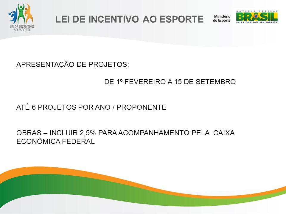LEI DE INCENTIVO AO ESPORTE APRESENTAÇÃO DE PROJETOS: DE 1º FEVEREIRO A 15 DE SETEMBRO ATÉ 6 PROJETOS POR ANO / PROPONENTE OBRAS – INCLUIR 2,5% PARA ACOMPANHAMENTO PELA CAIXA ECONÔMICA FEDERAL