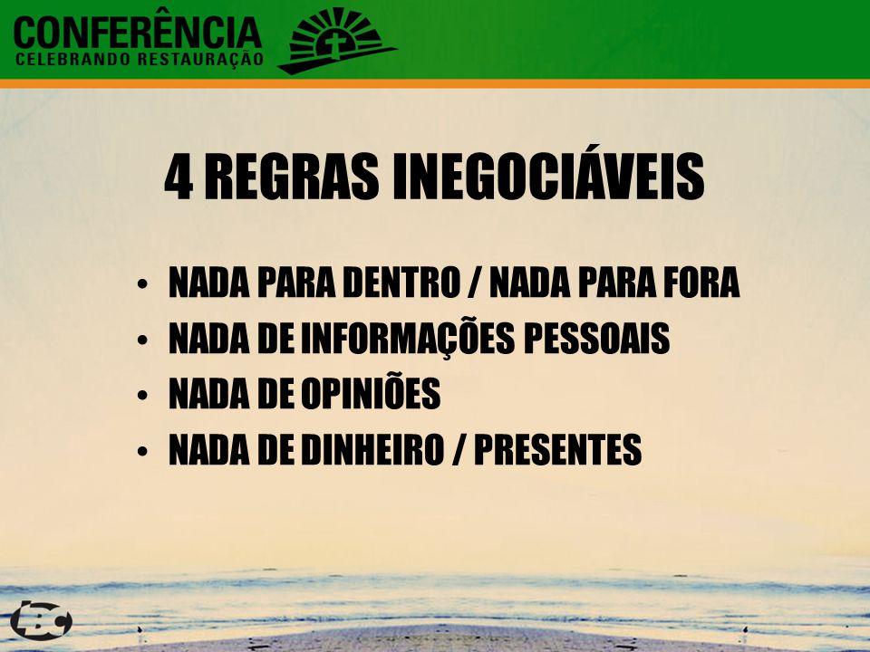 4 REGRAS INEGOCIÁVEIS NADA PARA DENTRO / NADA PARA FORA NADA DE INFORMAÇÕES PESSOAIS NADA DE OPINIÕES NADA DE DINHEIRO / PRESENTES