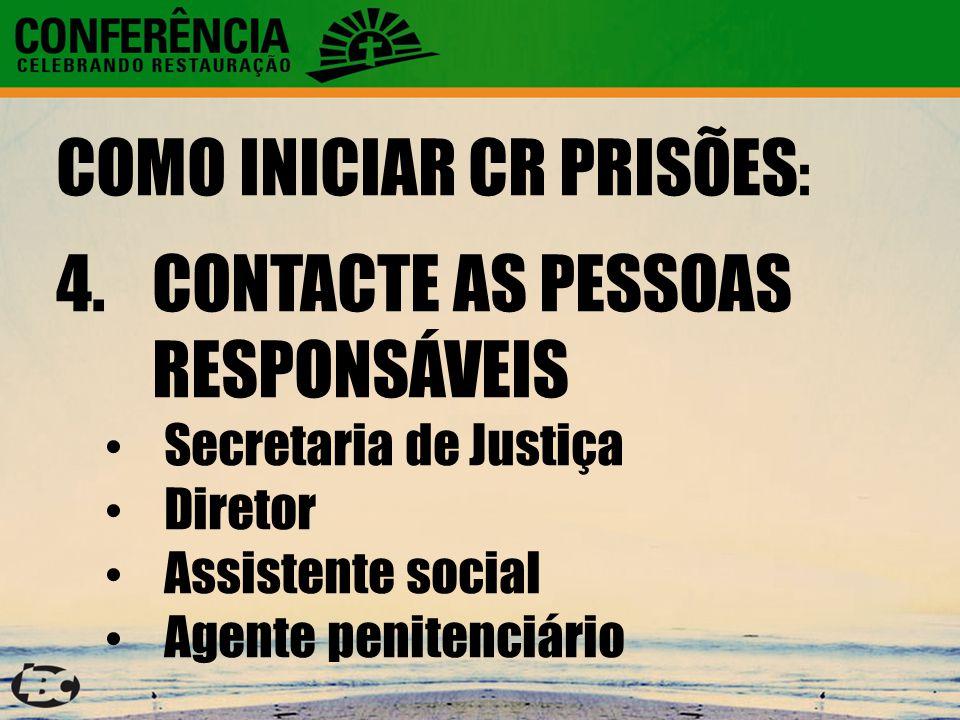COMO INICIAR CR PRISÕES : 4.CONTACTE AS PESSOAS RESPONSÁVEIS Secretaria de Justiça Diretor Assistente social Agente penitenciário