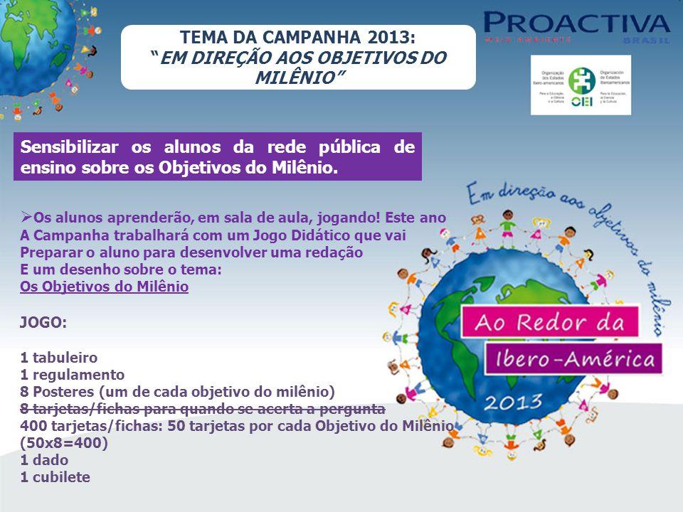 TEMA DA CAMPANHA 2013: EM DIREÇÃO AOS OBJETIVOS DO MILÊNIO Sensibilizar os alunos da rede pública de ensino sobre os Objetivos do Milênio.