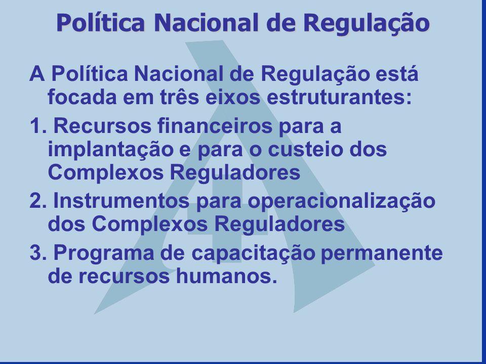 Política Nacional de Regulação A Política Nacional de Regulação está focada em três eixos estruturantes: 1. Recursos financeiros para a implantação e