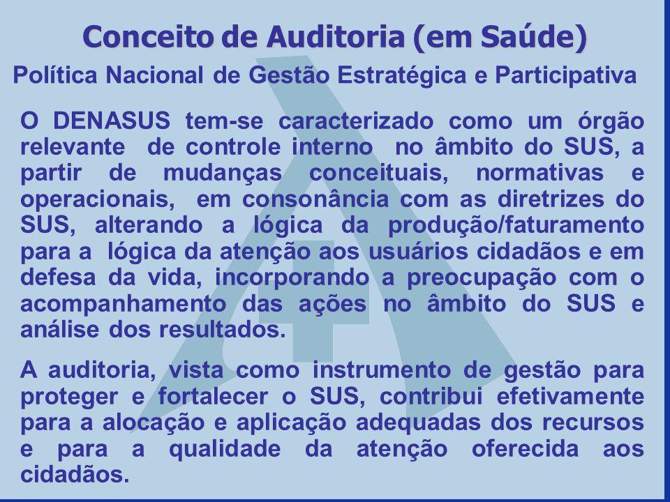 Política Nacional de Gestão Estratégica e Participativa Conceito de Auditoria (em Saúde) O DENASUS tem-se caracterizado como um órgão relevante de con