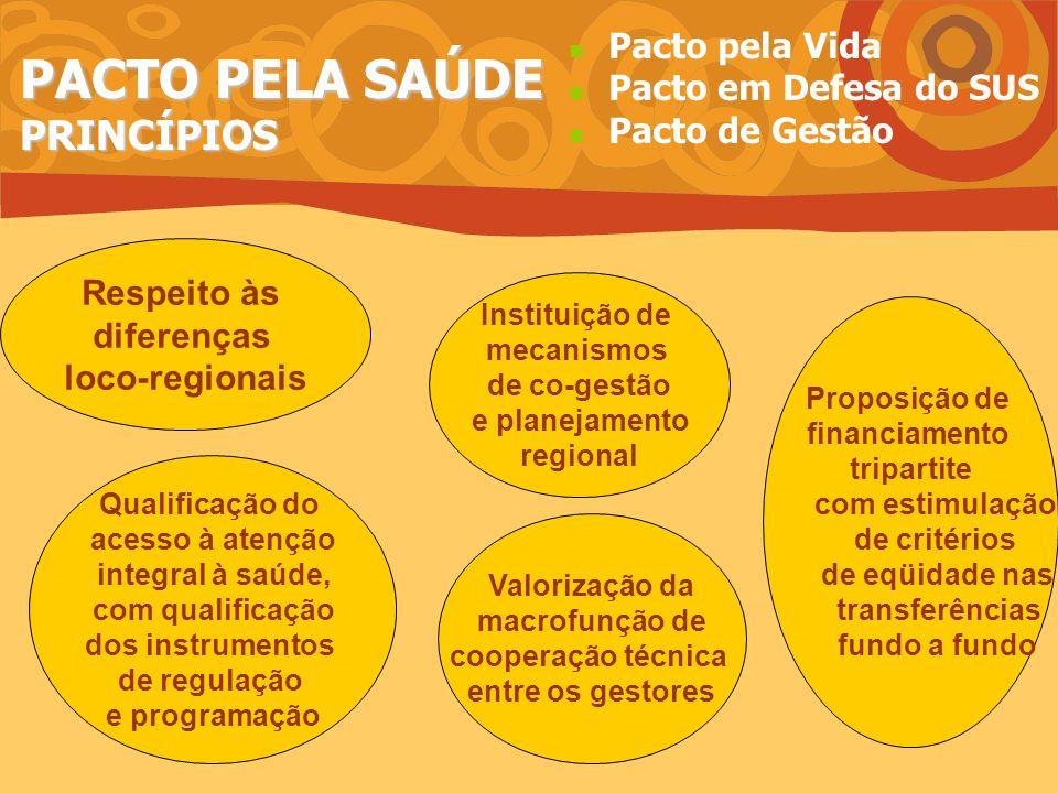 PACTO PELA SAÚDE PRINCÍPIOS Respeito às diferenças loco-regionais Qualificação do acesso à atenção integral à saúde, com qualificação dos instrumentos