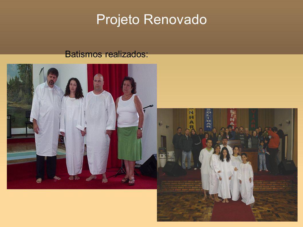 Projeto Renovado Batismos realizados: