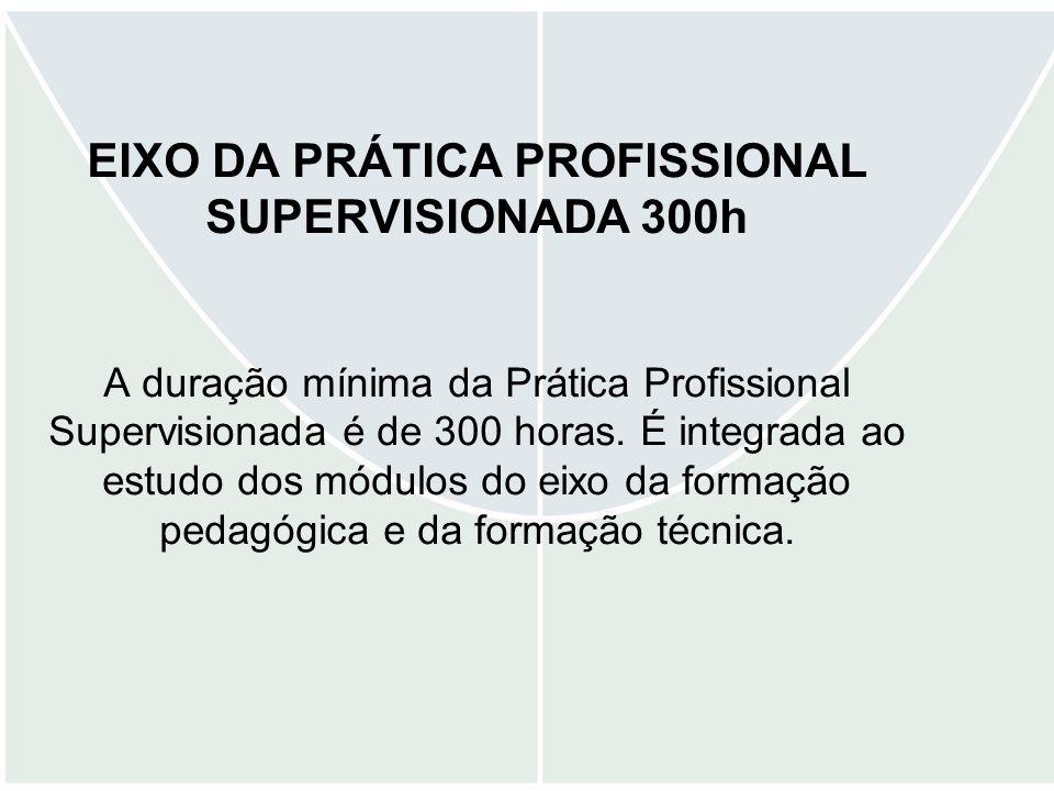 EIXO DA PRÁTICA PROFISSIONAL SUPERVISIONADA 300h A duração mínima da Prática Profissional Supervisionada é de 300 horas. É integrada ao estudo dos mód
